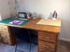 Craft room handmade wood table