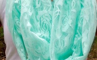 DIY Mint Green Lace Infinity Scarf on model wide