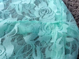 Mint Green Lace Infinity Scarf edge stitch opening closed close up