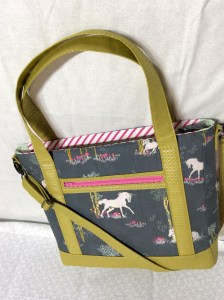 Sew Sweetness Tudor Bag Fantasia Art Gallery Fabrics unicorn purse lying down right side up