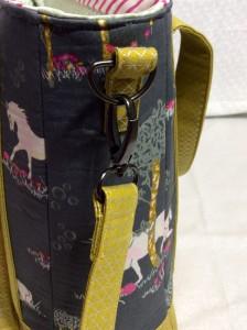 Sew Sweetness Tudor Bag Fantasia Art Gallery Fabrics unicorn purse close side exterior strap hardware 3