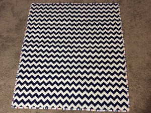 Navy White Red Chevron Baby Quilt Michael Miller's Wicker in Candy Paintbox Collection Cynthia Rowley chevron wide shot
