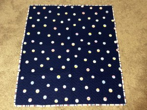 Navy White Red Chevron Baby Quilt Michael Miller's Wicker in Candy Paintbox Collection Cynthia Rowley blue side wide shot