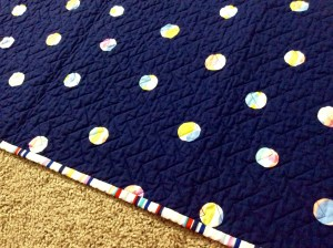 Navy White Red Chevron Baby Quilt Michael Miller's Wicker in Candy Paintbox Collection Cynthia Rowley edge