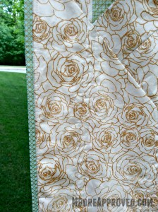 Moore Approved Priory Square Steeping Awakening Gold Roses Cotton and Steel Flying Geese Quilt Binding