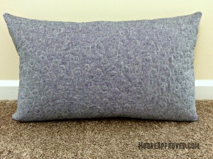 Moore Approved Scrappy Applique Leaf Mixed Fabrics Robert Kaufman Essex Linen Denim Quilted Pillow Cover FMQ Back