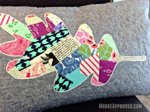 Moore Approved Scrappy Applique Leaf Mixed Fabrics Robert Kaufman Essex Linen Denim Quilted Pillow Cover FMQ Closeup