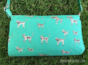 Swoon Glenda Convertible Clutch Cotton and Steel Canvas Teal Metallic Tigers Print Back Full Shot