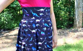 Lizzy House Natural History Dinosaurs Blue Andover Fabric Pleated Skirt Handmade Full Torso