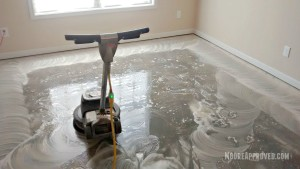 Workshop Progress Concrete Floor Maintainer tool rental paint drywall mud residue clean cleaning solution home depot moore approved wet water action