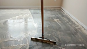 Workshop Progress Concrete Floor paint drywall mud residue clean cleaning solution home depot moore approved squeegee