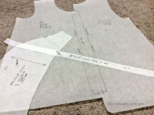 Moore Approved Grainline Studio Scout Tee Pattern shirt traced out pieces size 4 tracing paper