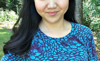 Moore Approved Linden Sweatshirt Vintage Rose fabric blue purple headshot