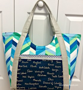Moore Approved Noodlehead Poolside Tote Cotton and Steel Canvas Robert Kaufman Geopop Blue Green Silver Bag Hanging Front