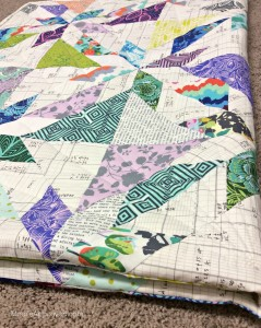 Moore Approved Scrappy Hunters Star Quilt Modern Amy Butler Violette Carolyn Friedlander Architextures Alison Glass Sunprint fabric folded