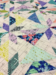 Moore Approved Scrappy Hunters Star Quilt Modern Amy Butler Violette Carolyn Friedlander Architextures Alison Glass Sunprint fabric front close quilting detail