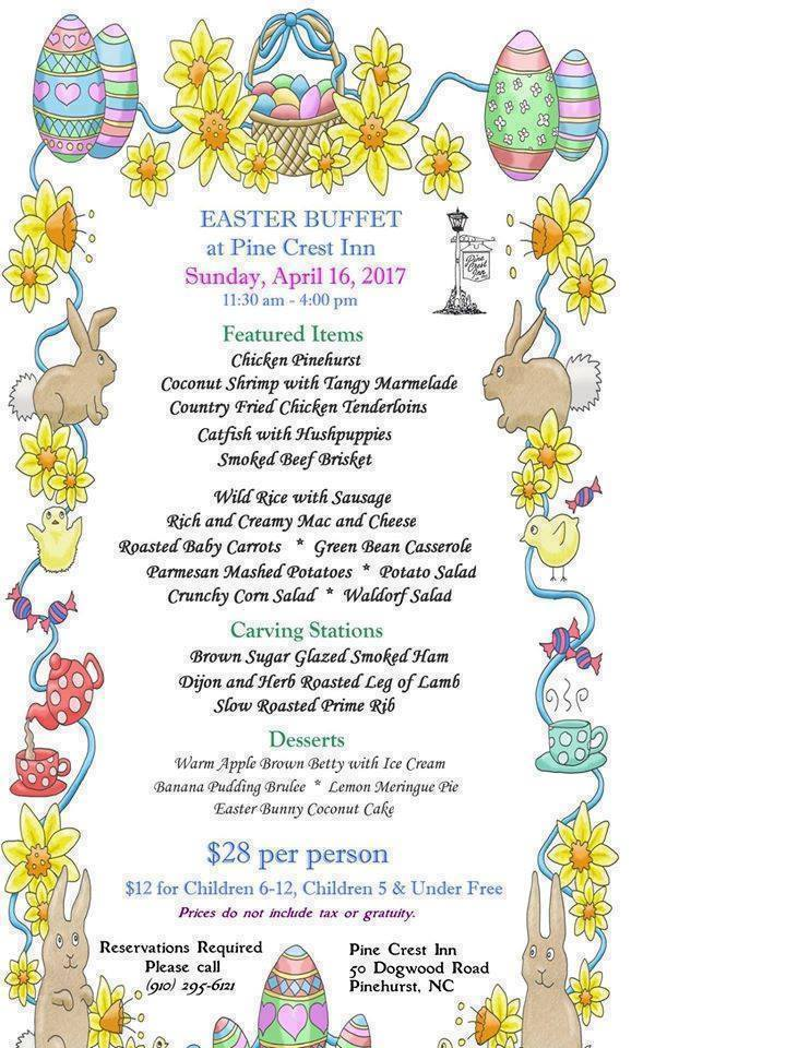 Pine Crest Inn easter menu