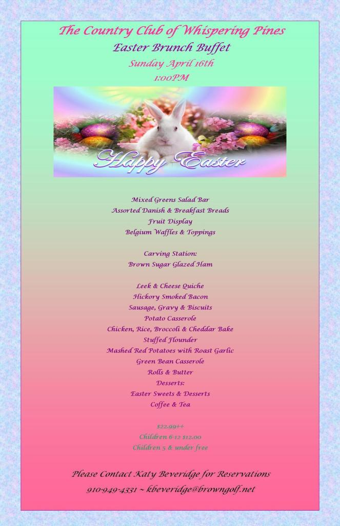 country club of whispering pines easter menu