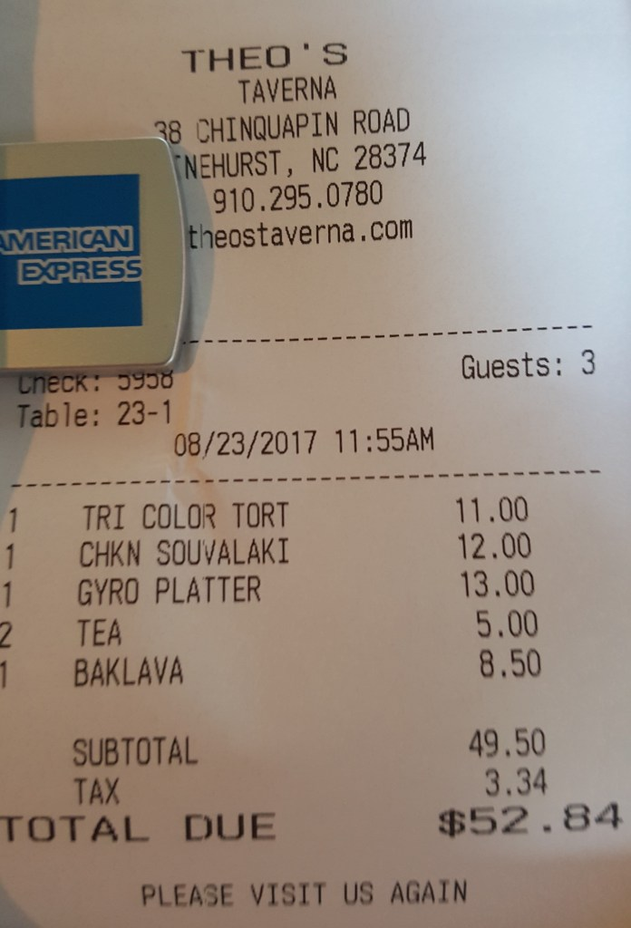 Theo's Taverna receipt