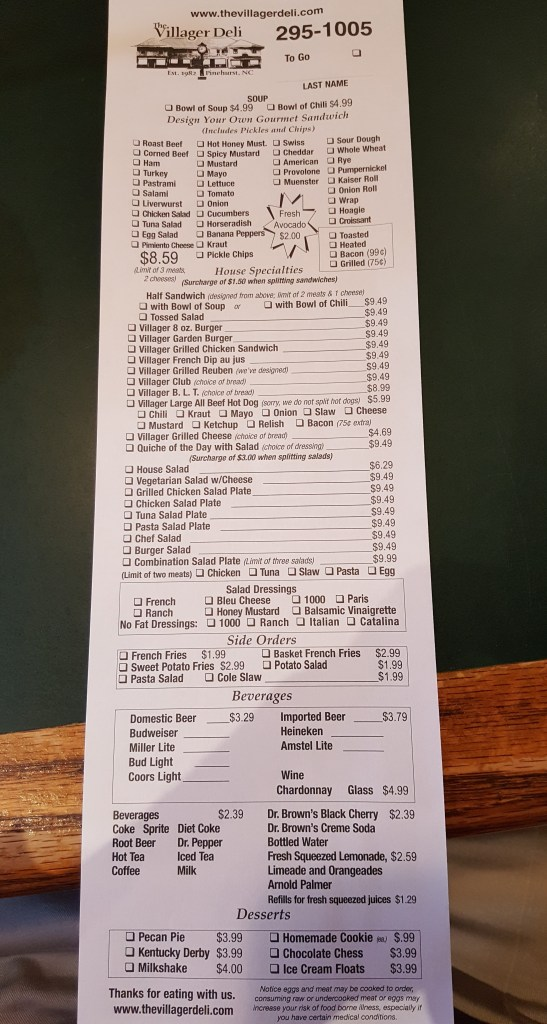 villager deli menu
