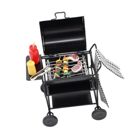 Miniature BBQ Grill with 8 pcs Food Set for Dollhouse