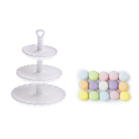 1:12 Miniature 3-Layer Metal Dessert Stand and 15 Pcs Macaroon Cream Cakes Dollhouse Food Accessory
