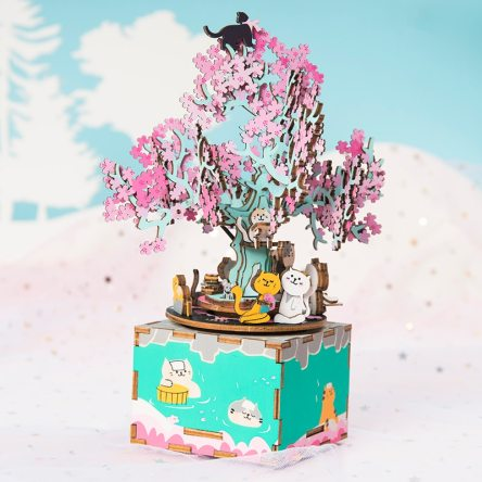 D.I.Y. Wooden Cherry Tree Music Box Puzzle Kit