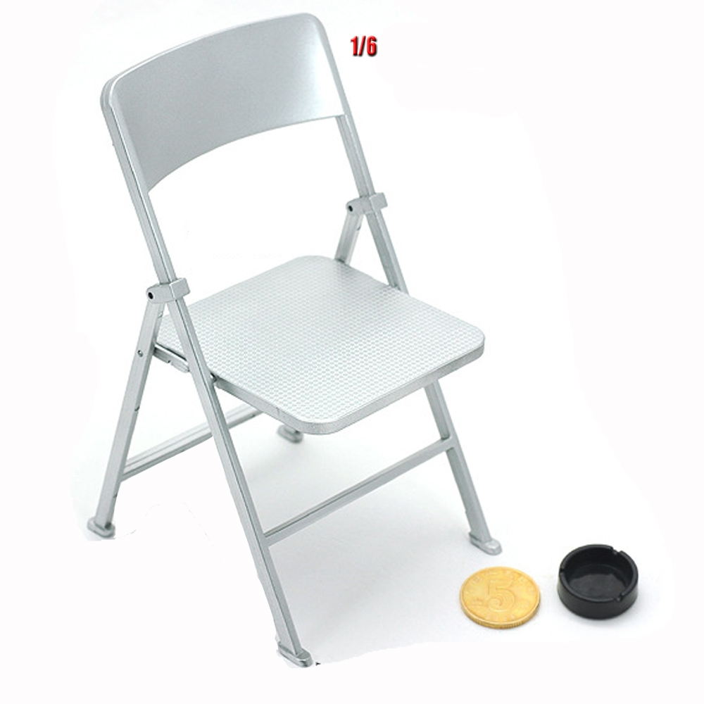 "1//6 Scale Figure Solider Black Folding Chair Model for 12/"" Action Figures"