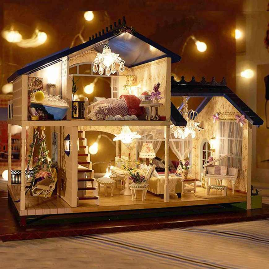 Cozy D.I.Y. Wooden Miniature Dollhouse with Music & LED Light Kit