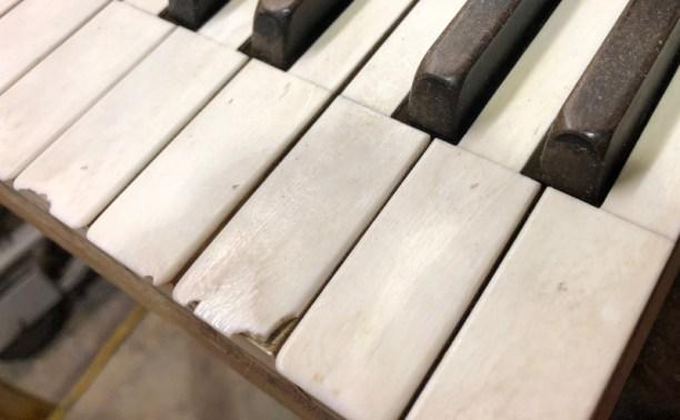 chipped ivory piano key