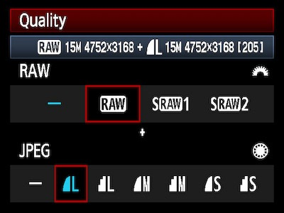 Bestandsformaat RAW JPEG