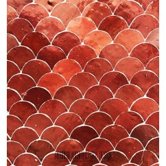 Kitchen Cabinet Doors For Sale Pineapple Decorations Zellige Tile: Red Moroccan Fish Scales Mosaic Tile