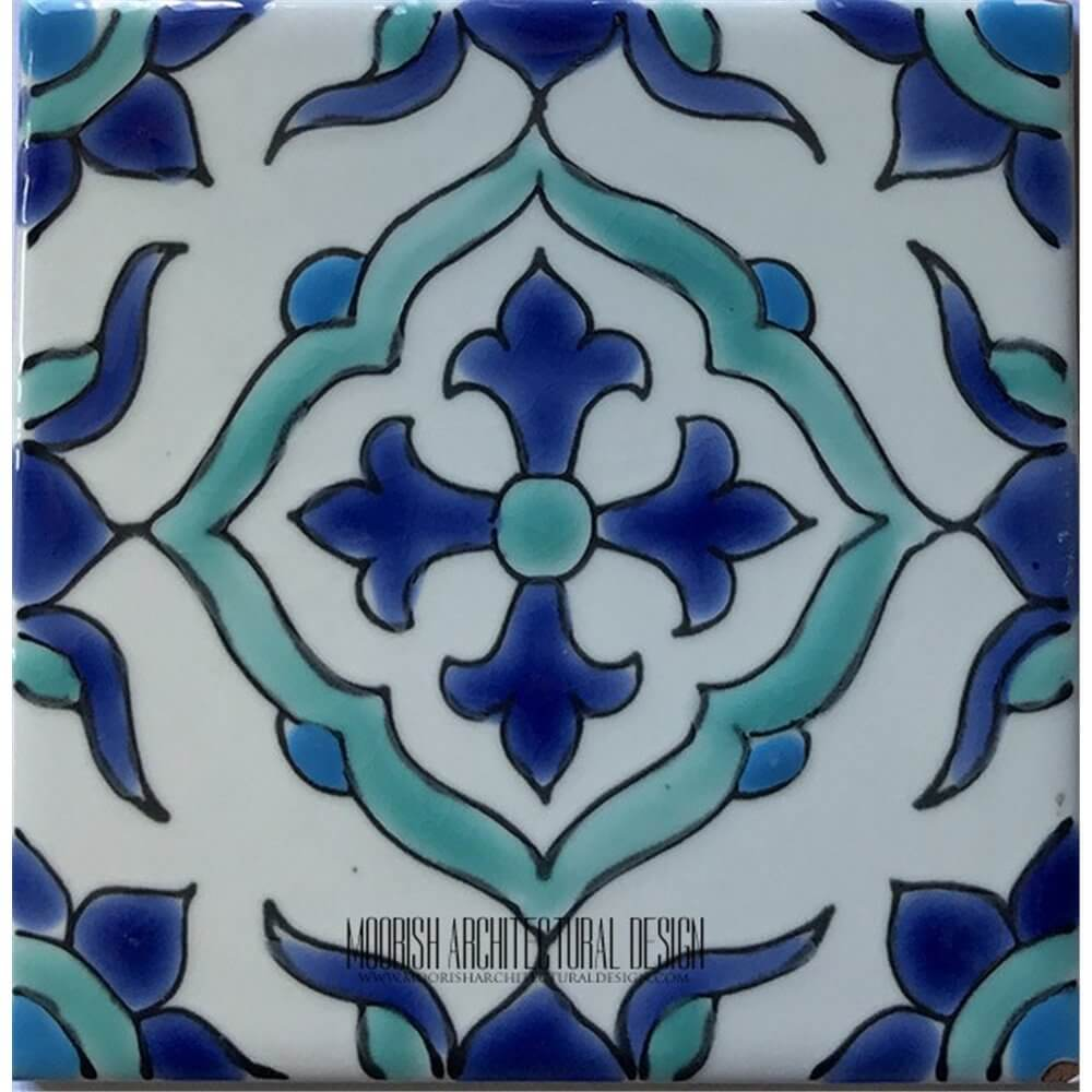 Tunisian Tiles Mediterranean Pool Tiles  Pool Waterline accent tiles