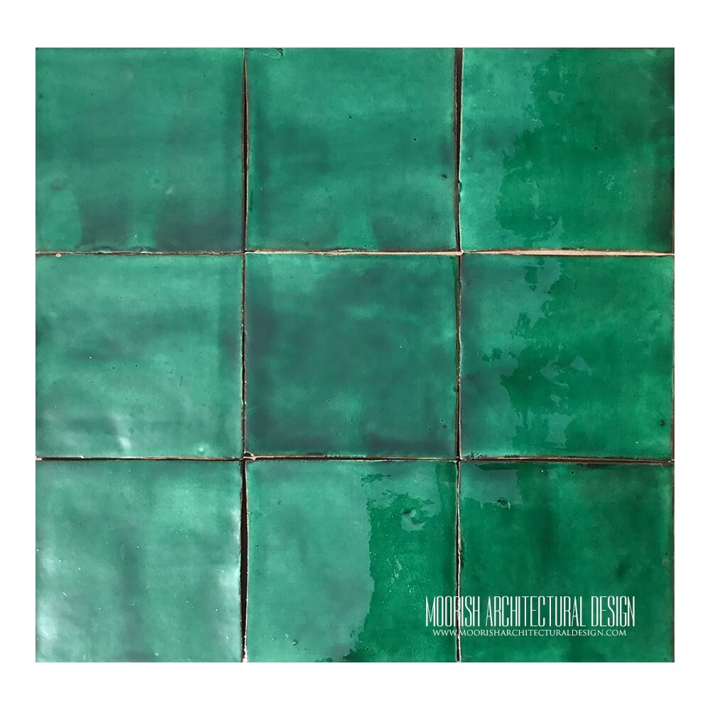 Dark green pool tiles