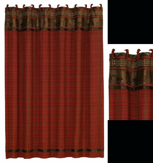 luxury homemax cascade lodge bear plaid shower curtain