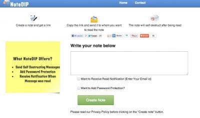 NoteDIP (Applicazione Online) - Applicazione web per inviare messaggi segreti su Internet - Mooseek.com