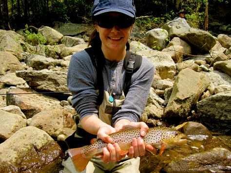 Jess's first trout from about 3 years ago off of a Vladi Worm