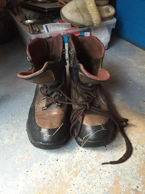 My old wading shoes demonstrating their age.