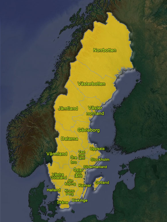Map Vasterbotten Sweden