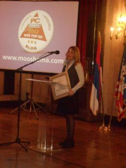 Tatjana Vehovec dodela priznanja najbolji blog 2012