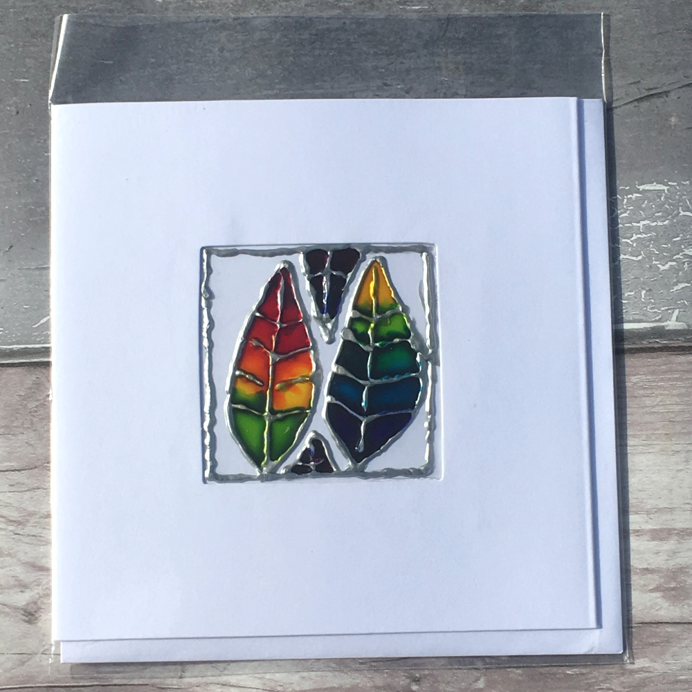 Stained glass rainbow leaves handmade greetings card