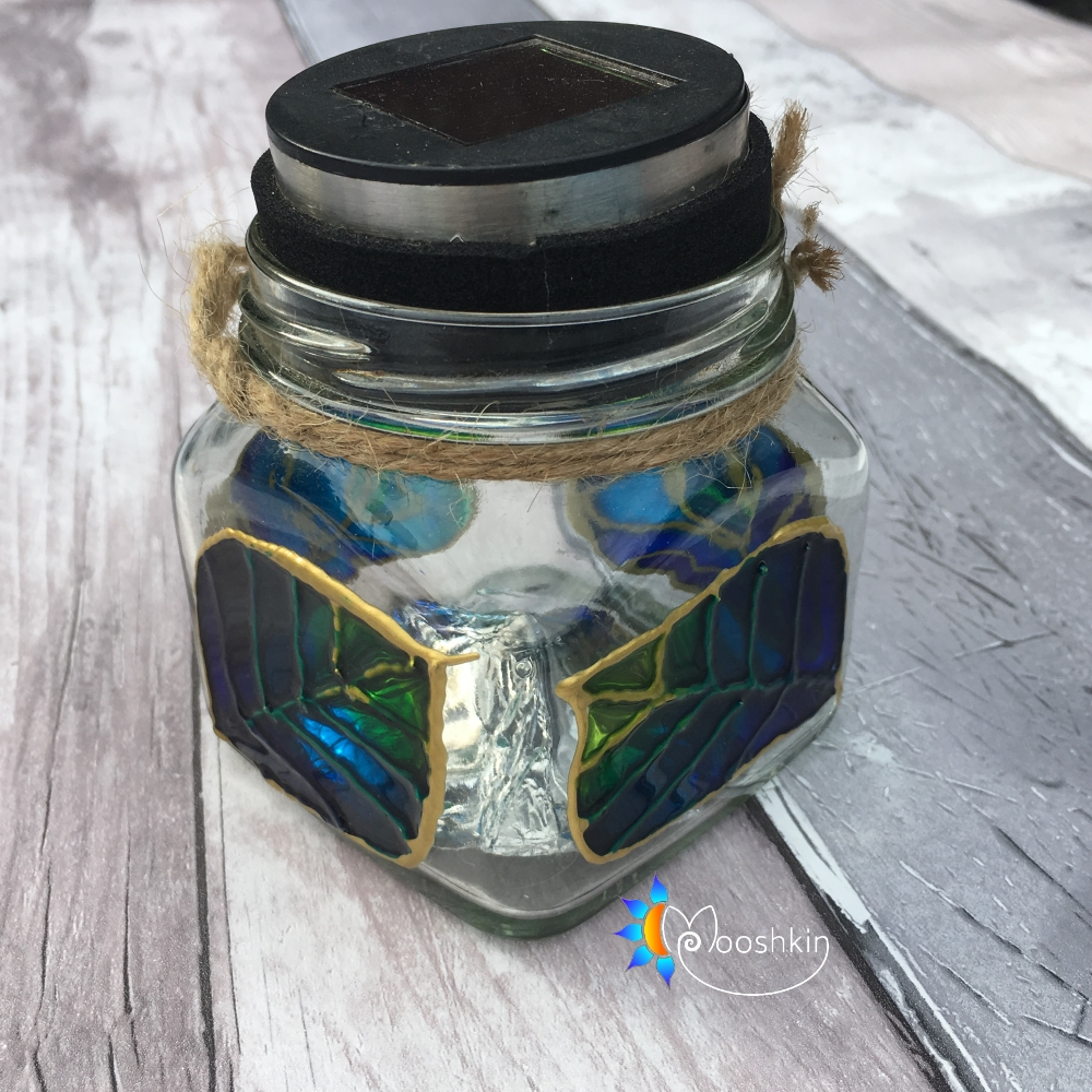Upcycled painted alioli jar solar lantern