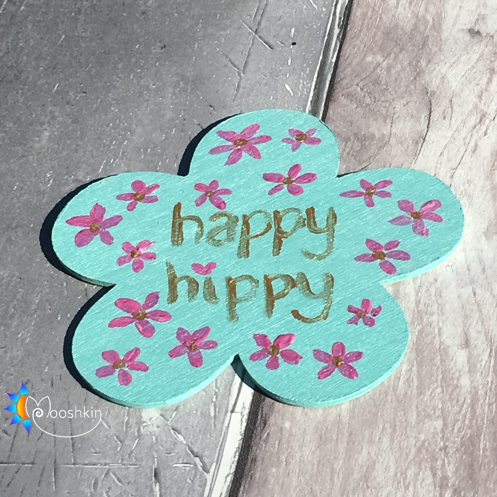 happy hippy fridge magnet - flower