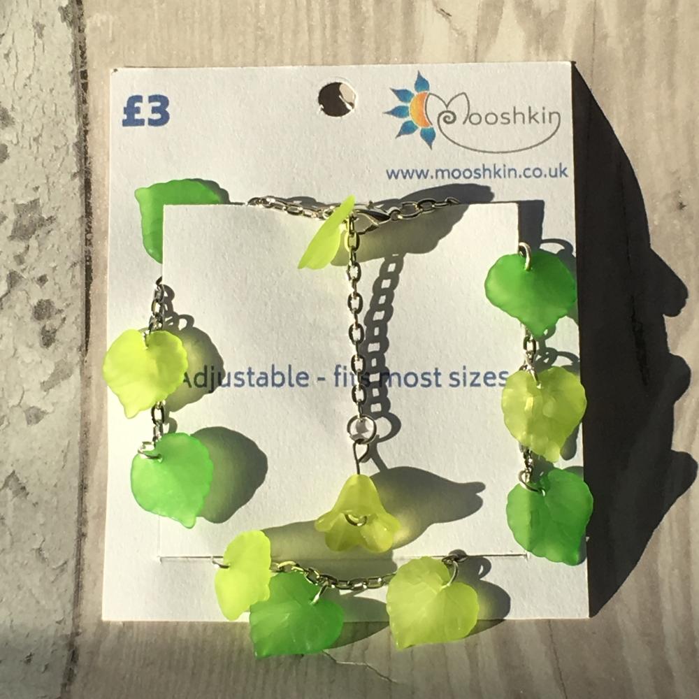 'lime and apple fizz' leaf bracelet