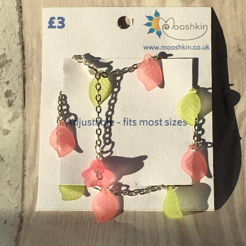 'rose and lime sorbet' leaf bracelet