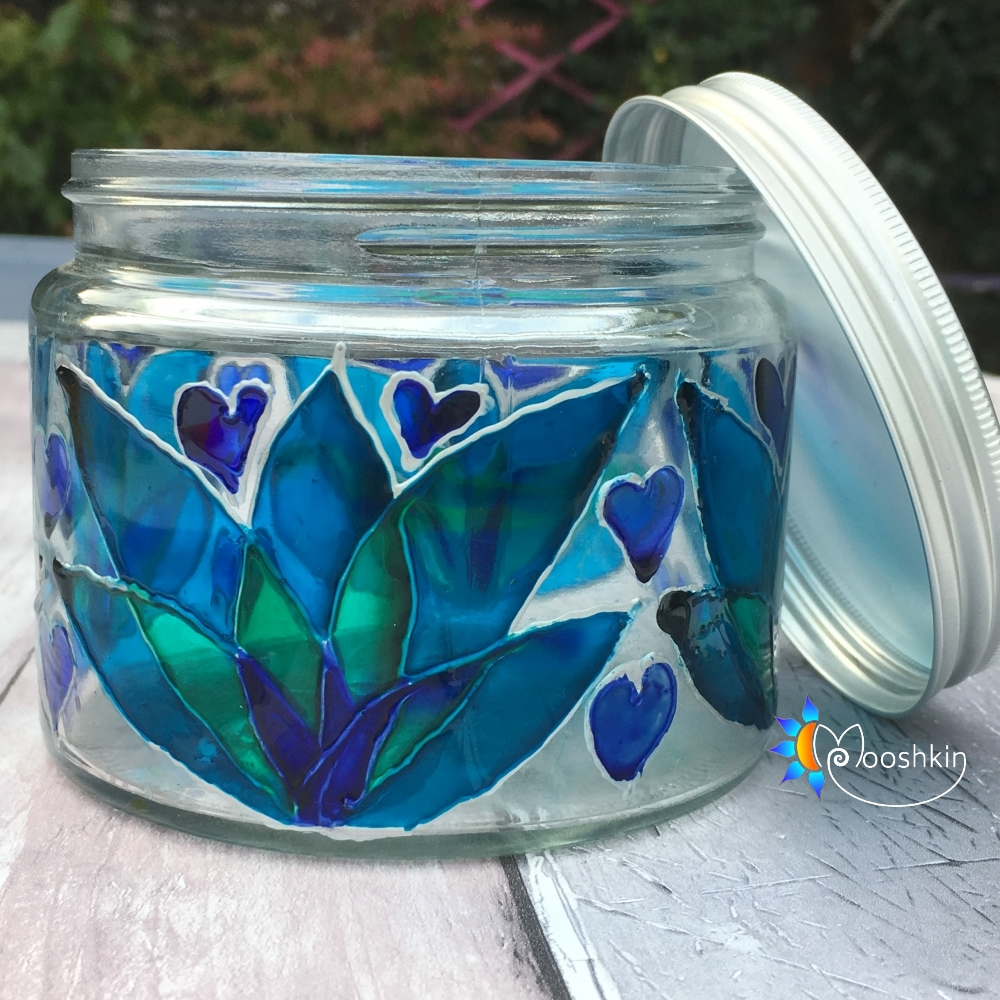Painted upcycled coconut oil jar