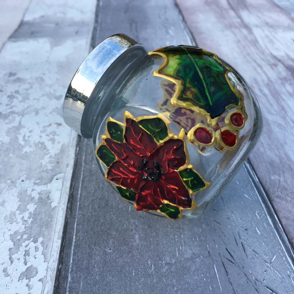 Hand painted glass spice jar - holly and poinsettia
