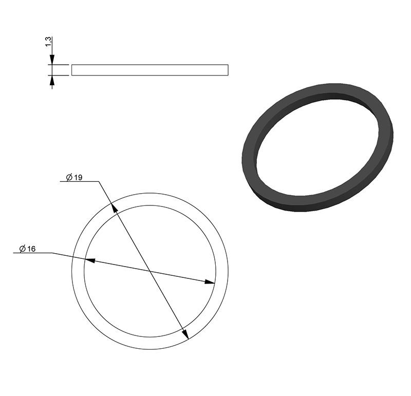 Drive belt Inner diameter 16.00mm, Outer diameter 19.00mm