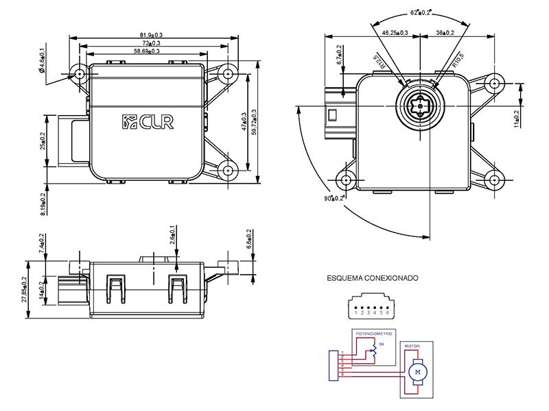 Gear motor DC 12V 6.5rpm with potentiometer, ref. 016787
