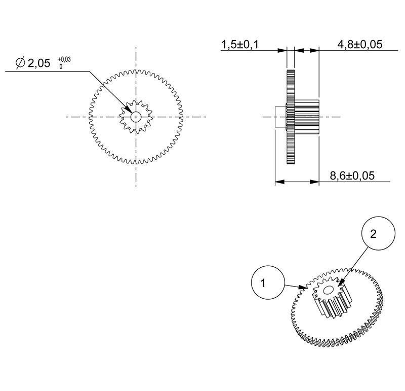Metal gear Module 0.300, Teeth 60Z, Shape with pinion, ref